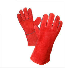 Mega Red Leather Gloves with Lining