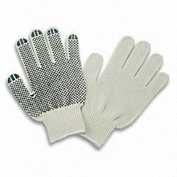Cotton Dotted Gloves Double Weave